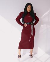 Sexy Puff Sleeve Crop Top+Split Dress 2 Piece Sets Without Belt BLX-7547