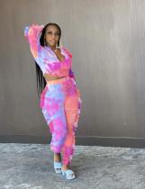 Tie Dye Print Long Sleeve Two Piece Pants Set OY-6236