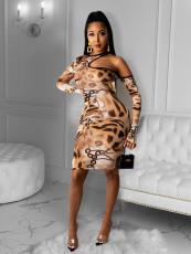 Plus Size 4XL Sexy Printed Hollow Bodycon Dress OM-1187