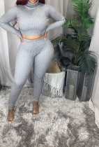 Plus Size Ribbed High Neck Top And Pants Fashion Two Piece Set CQ-086