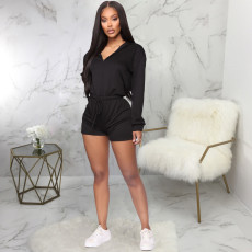 Casual Solid Hooded Long Sleeve One Piece Rompers SMR-9794