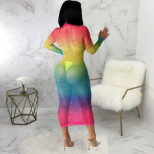 Sexy Gradient Mesh Hollow Out Maxi Club Dress SMR-9802