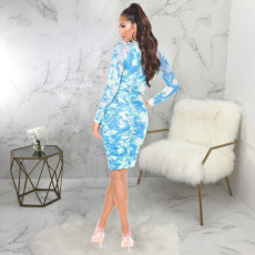 Sexy Printed Long Sleeve Ruched Slim Midi Dress SMR-9806