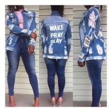 Casual Letter Print Ripped Hole Denim Coat SMR-9853
