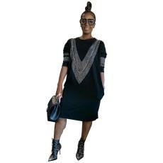 Plus Size 5XL Hot Drilling Long Sleeve Aline Dress CYA-1321