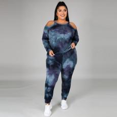 Plus Size 5XL Tie Dye Off Shoulder Two Piece Suits CYA-1327