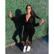 Solid Color Printed Sexy Hooded Long Sleeve Jumpsuit YSYF-7264