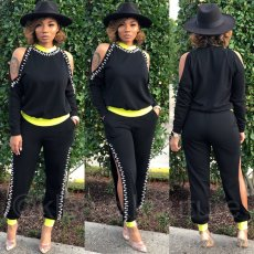 Trendy Beading Off Shouder Long Sleeves 2 Piece Suits CYA-8783