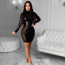 Sexy Squined Mesh Patchwork Club Dress CYA-8803