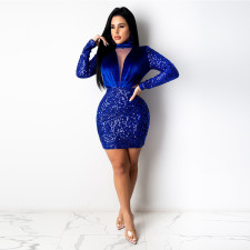 Sexy Sequined Velvet Mesh Patchwork Club Dress CYA-8811