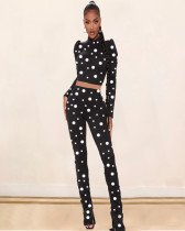Polka Dot Print Long Sleeve Two Piece Pants Set LLF-5505
