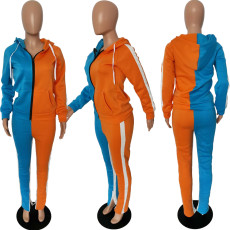 Fashion Sports Two-color Splice Hoodie Coat And Pants Two Piece Set LJF-6029