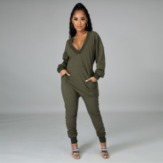 Plus Size Casual Solid Deep V Neck Long Sleeve Jumpsuits YM-9259