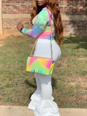 Tie Dye Long Sleeve Tops+Flared Pants 2 Piece Sets BDF-8045