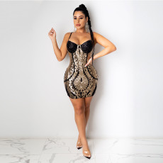 Sexy Shiny Sequined Spaghetti Strap Club Dress CYA-8794