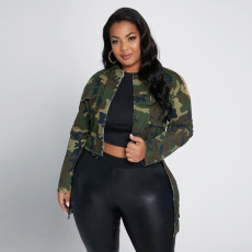 Plus Size 5XL Camo Print Full Sleeve Jacket Coat CYA-1346