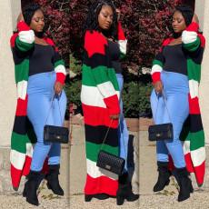 Christmas Multi Stripe Full Sleeve Long Cloak Coat SMD-2056
