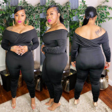 Plus Size 5XL Sexy Solid Color Off Shoulder Long Sleeve Ruched Jumpsuit ASL-7002