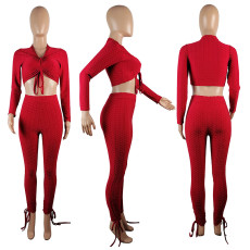 Solid Color Fashion Long Sleeve Pants Two Piece Set OBF-5035
