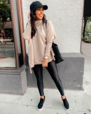 Solid Loose Turtleneck Split Full Sleeve Sweater Tops NY-062