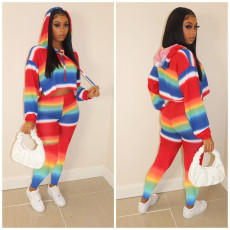 Rainbow Stripe Hooded Long Sleeve 2 Piece Sets YIM-155