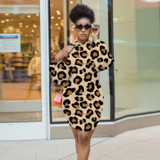 Sexy Leopard Off Shoulder High Waist Bodycon Dress YD-8326