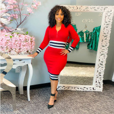Sexy Striped Long Sleeve Bodycon Dress ABF-6640