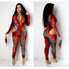 Sexy Hollow Zipper Tight Jumpsuit With Mask TEN-3572