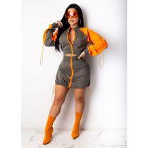 Contrast Color Drawstring Zipper Coat Mini Skirt 2 Piece Sets CHY-1290