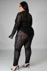 Plus Size 5XL Mesh Bodysuit And Pants 2 Piece Sets OSM2-5271