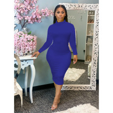 Plus Size Solid Turtleneck Long Sleeve Midi Dress SHE-7211