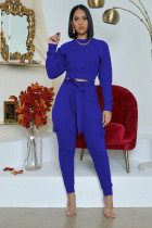 Solid Long Sleeve Sashes Pants Two Piece Suits WY-6716