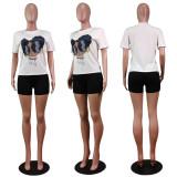 Cartton Print T Shirt Tops Shorts 2 Piece Suits WY-2005