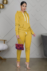Casual Solid Hoodies Pants Two Piece Sets WY-6710