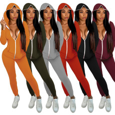 Casual Hooded Zipper Two Piece Pants Set YS-8720
