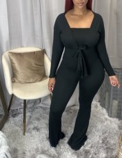 Solid Color Tube Top Flare Jumpsuit And Long Sleeve Coat Two Piece Set XYMF-8044