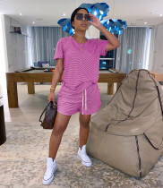 Casual Striped T Shirt Shorts Two Piece Sets WY-6708