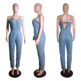 Sexy V Neck Strap Backless Denim Jumpsuits Without Chain WY-6663