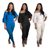 Solid Color Flared Half Sleeve Top And Leggings Pants Two Piece Set XYMF-8034