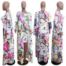 Printed Tube Top Dress And Long Cloak Two Piece Set ATDF-5101