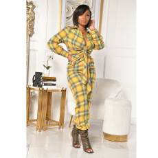 Plus Size 4XL Plaid V Neck Tie Up Full Sleeve Jumpsuits YIY-5240