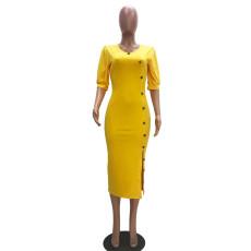 Sexy Half Sleeve Skinny Midi Dress ATDF-5202