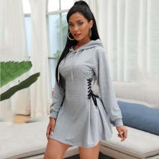 Elegant Lace Up Slim Sports Pullover Hooded Dress ATDF-5109