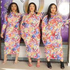 Plus Size 5XL Printed Long Sleeve Maxi Dress PN-6638