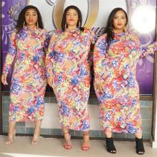 Plus Size 5XL Printed Long Sleeve Maxi Dress PN-6638