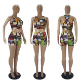 Sexy Printed Tank Top And Shorts Two Piece Sets SHD-9337