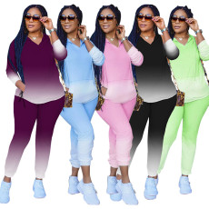Gradient V Neck Hoodies Pants Two Piece Sets SFY-197