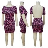 Sexy Leopard Backless Short Sleeve Mini Dress YF-9764