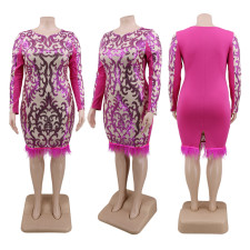 Plus Size 5XL Shiny Sequined Feather Club Dress CYA-1355