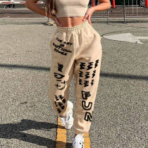 Street Hipster Casual Letter Printed Straight Pants SIF-0031